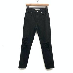Nasty Gal Black High Waisted Distressed Jeans - 26